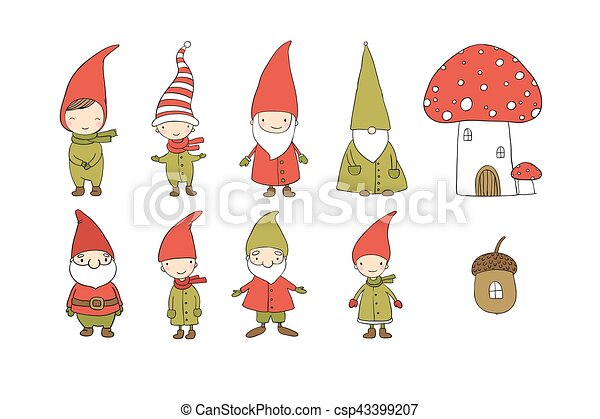 Christmas Gnome Drawing.Set Of Cute Cartoon Gnomes Funny Elves Hand Drawing Isolated Objects On White Background Vector Illustration