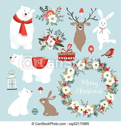 Cute Christmas Clip Art.Set Of Cute Christmas Clip Arts With Bunnies Reindeer Polar Bears Winter Flowers Christmas Wreath And Balls Scandinavian Design Isolated Hand
