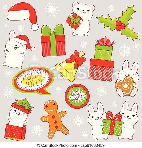 Set of cute Christmas party icons in kawaii style - csp61663459
