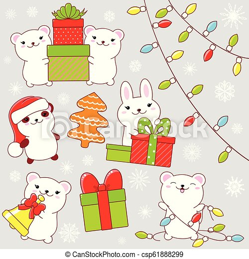 Set of cute Christmas party icons in kawaii style - csp61888299