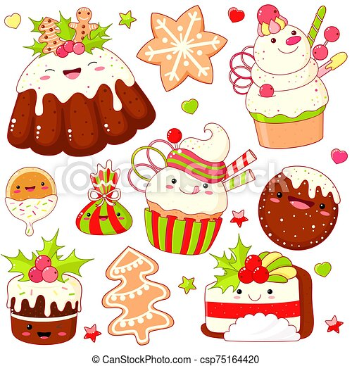 Set of cute Christmas sweet icons in kawaii style - csp75164420