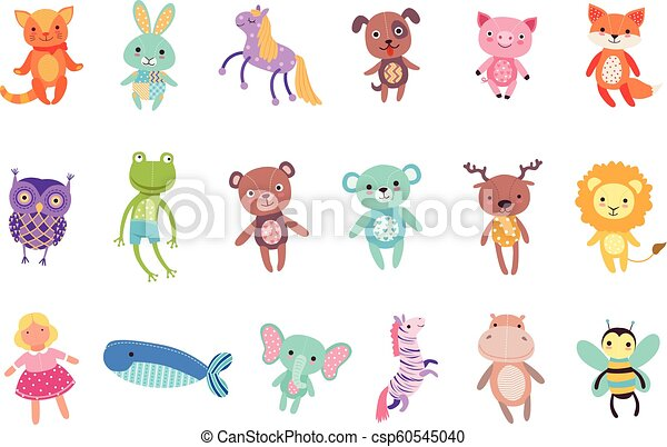Set of cute colorful soft plush animal toys vector Illustrations - csp60545040