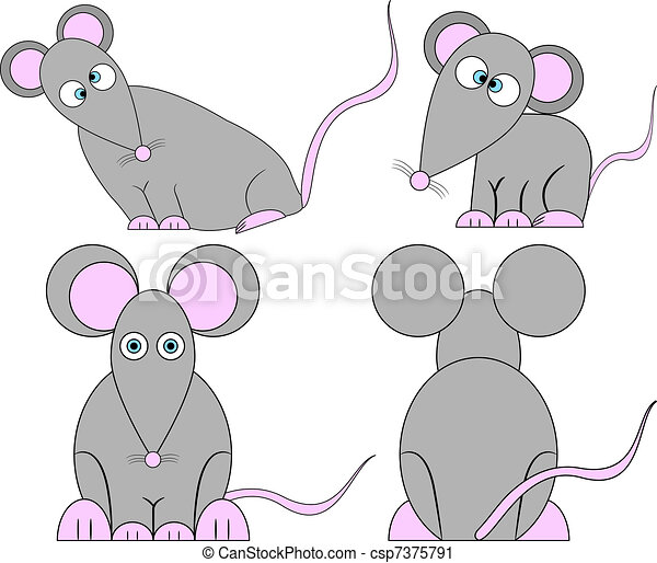 Set of Cute Crazy Cartoon Mice - csp7375791