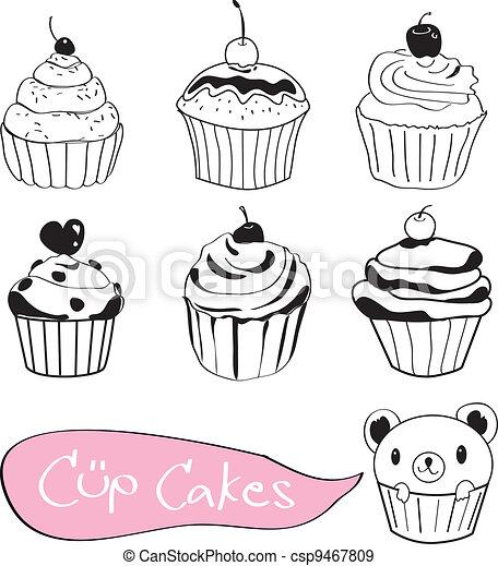 Set of cute cup cake - csp9467809