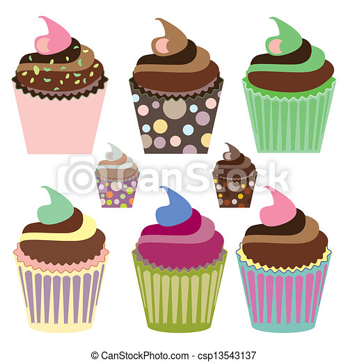 Set of Cute Cupcakes - csp13543137