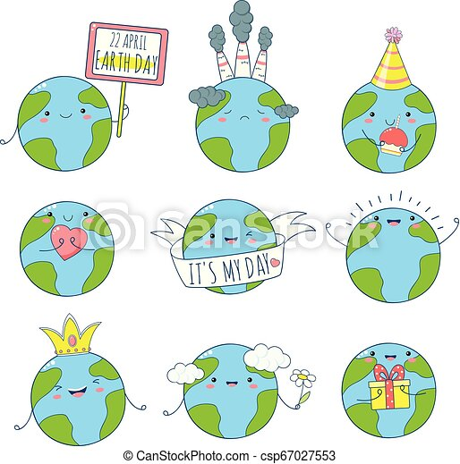 Set of cute Earth icons in kawaii style - csp67027553