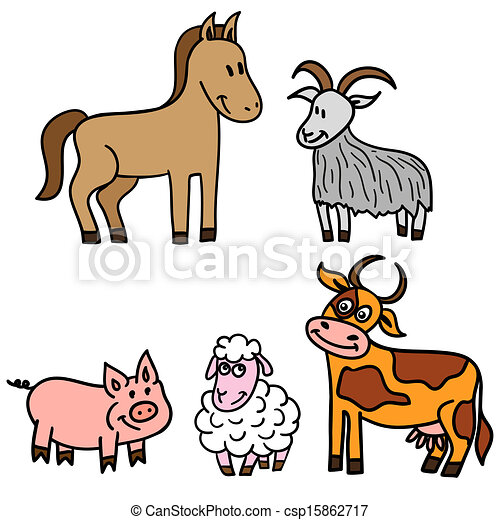 set of cute farm animals vector clip art search illustration rh canstockphoto com free baby farm animal clipart free farm animal clipart black and white
