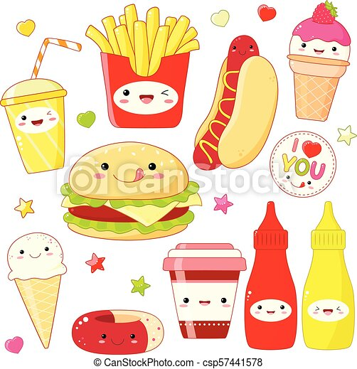 Set of cute food icons in kawaii style - csp57441578