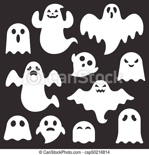 Set Of Cute Ghost Creation Kit Changeable Face Flat Design