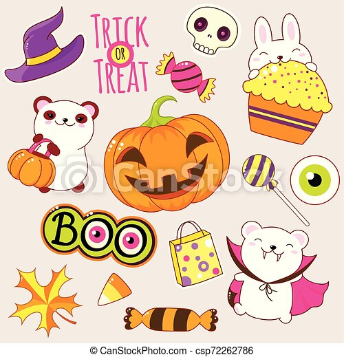 Set of cute Halloween icons in kawaii style - csp72262786