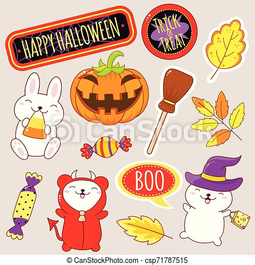 Set of cute Halloween icons in kawaii style - csp71787515