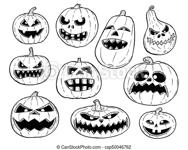 Halloween Pumpkin Drawing Picture.Set Of Cute Hand Drawing Halloween Pumpkin Illustrations