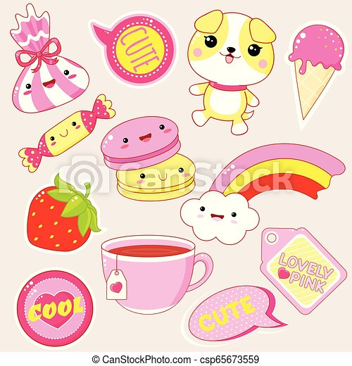Set of cute icons in kawaii style - csp65673559