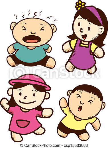 vector set of cute kid cartoon