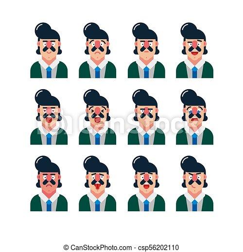 set of cute man facial expressions. vector illustration - csp56202110