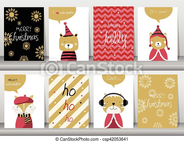 Set Of Cute Merry Christmas Background With Cute Animal And Winter Clothes Vector Illustrations