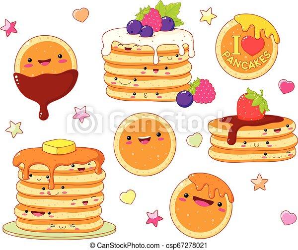 Set of cute pancake icons in kawaii style - csp67278021