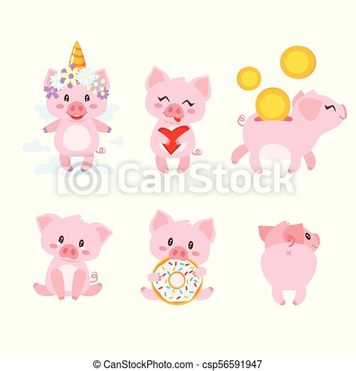 vector cartoon style set of cute pink pig character in different
