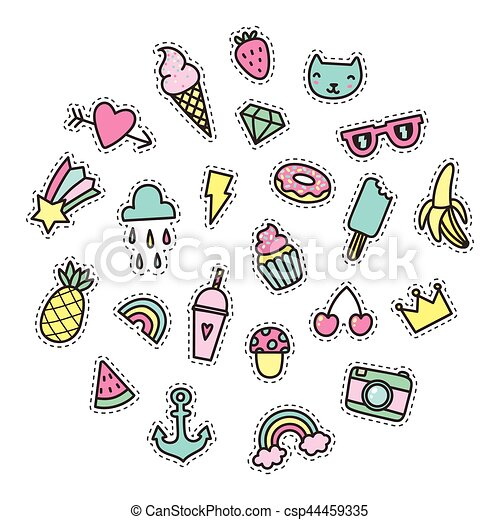 Set Of Cute Pop Stickers Vector Hand Drawn Objects