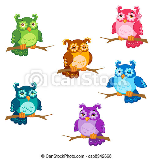 Set of cute six cartoon owls with various emotions in vector - csp8342668
