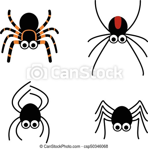 set of cute spider in simple style vector design clip art vector rh canstockphoto com cute halloween spider clipart cute black spider clipart