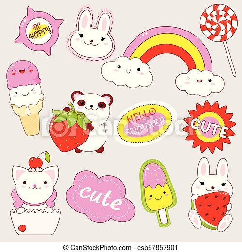 Set Of Cute Stickers In Kawaii Style Set Of Cute Icons In Kawaii Style Panda Wuth Strawberry Bunny With Watermelon Ice Canstock
