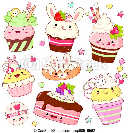 Set of cute sweet icons in kawaii style - csp80519562