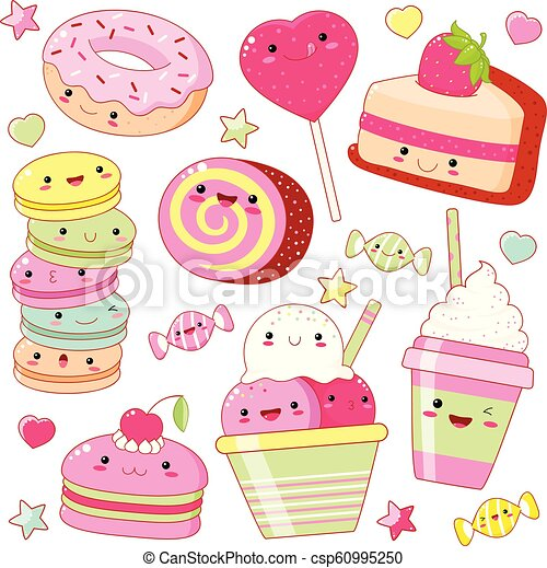 Set of cute sweet icons in kawaii style - csp60995250