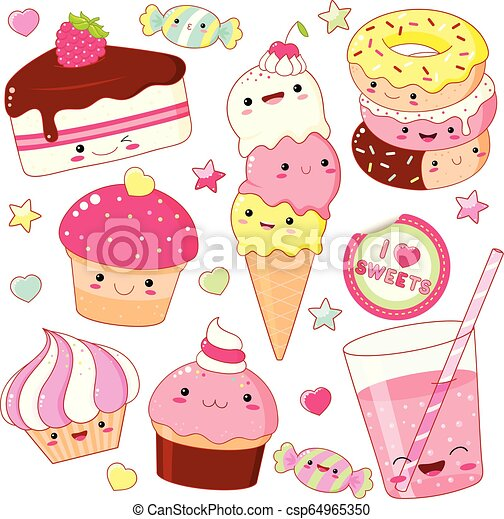 Set of cute sweet icons in kawaii style - csp64965350