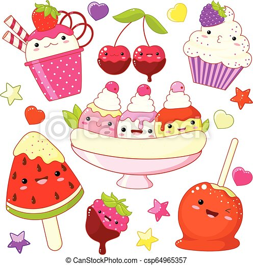 Set of cute sweet icons in kawaii style - csp64965357