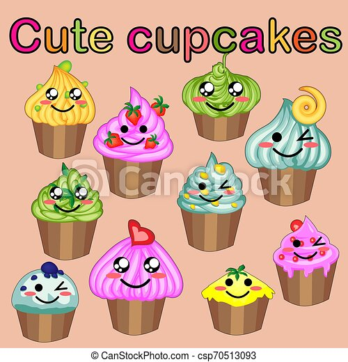 Set of cute sweet icons in kawaii style with smiling face and pink cheeks for sweet design. Ice cream, candy, cake, cupcake. - csp70513093