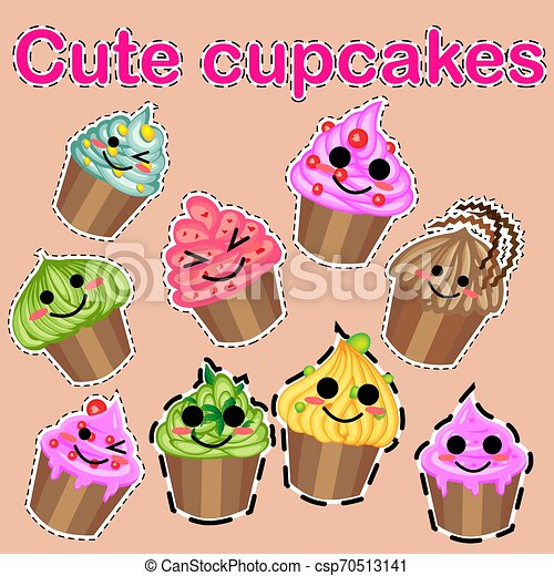 Set of cute sweet icons in kawaii style with smiling face and pink cheeks for sweet design. Ice cream, candy, cake, cupcake. - csp70513141