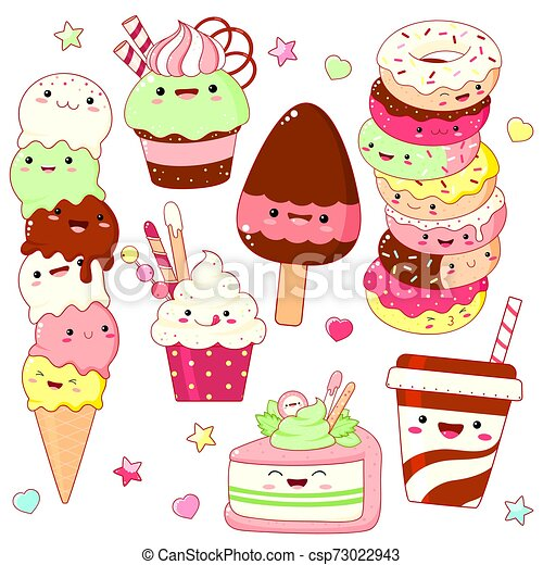 Set of cute sweet icons in kawaii style - csp73022943