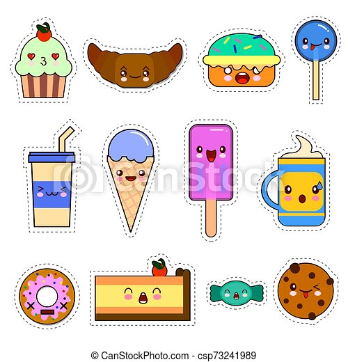 Set of cute sweet icons in kawaii style with smiling face and pink cheeks for sweet design. Sticker with inscription So cute. Ice cream, candy, cap with coffee, soda, cupcake, macarons. EPS - csp73241989