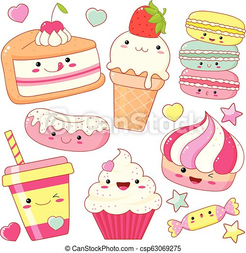 Set of cute sweet icons in kawaii style - csp63069275
