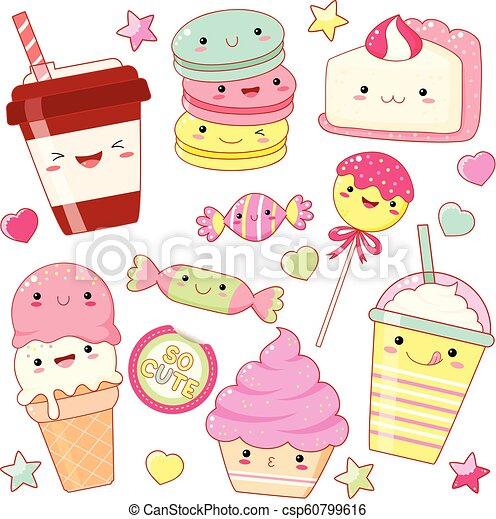 Set of cute sweet icons in kawaii style - csp60799616