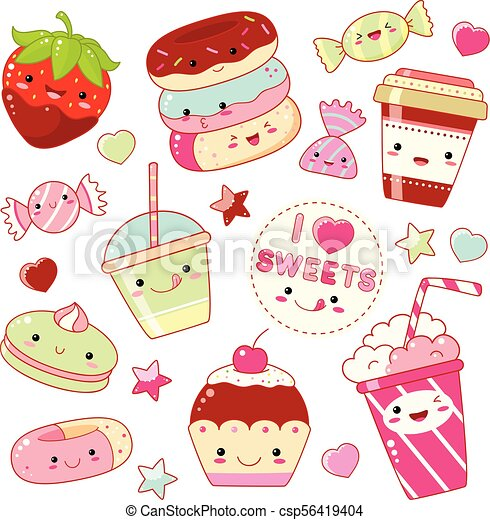 Set Of Cute Sweet Icons In Kawaii Style With Smiling Face And Pink