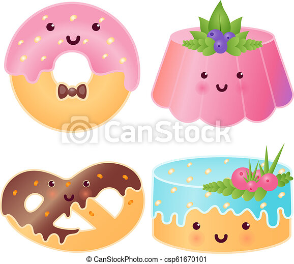 Set Of Cute Sweets Jelly Pudding Donut Pretzel Cupcake Isolated