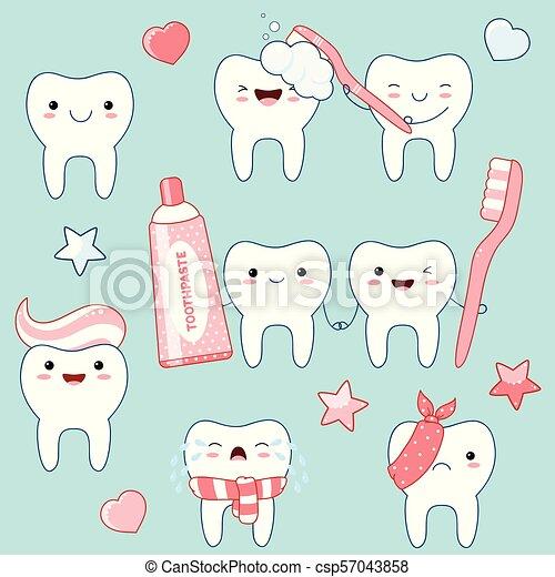 Set of cute teeth icons in kawaii style - csp57043858