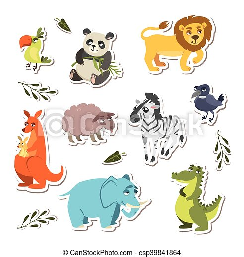 set of cute vector animals. stickers for children - csp39841864