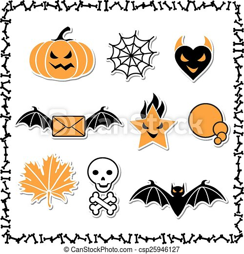 Set of cute vector Halloween icons for your design - csp25946127