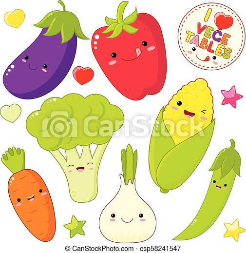 Set of cute vegetable icons in kawaii style - csp58241547