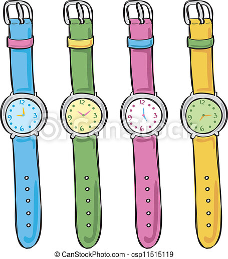 Set of cute watch vector clip art search illustration drawings and eps graphics images for Cartoon watches