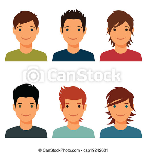 Set Of Cute Young Boys With Various Hair Style Vector Search - Hairstyle boy drawing