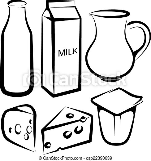 set of dairy products vectors search clip art illustration rh canstockphoto com dairy clipart black and white diary clipart