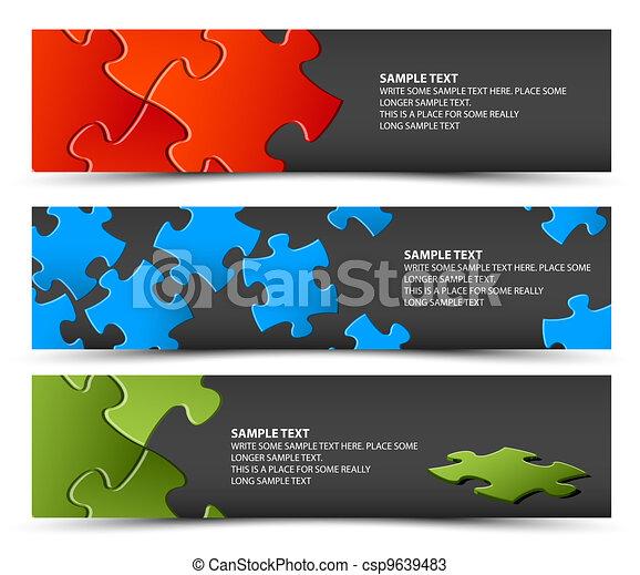 Set of dark puzzle horizontal banners - csp9639483