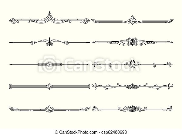Set of decorative borders and page rules frames vector. - csp62480693