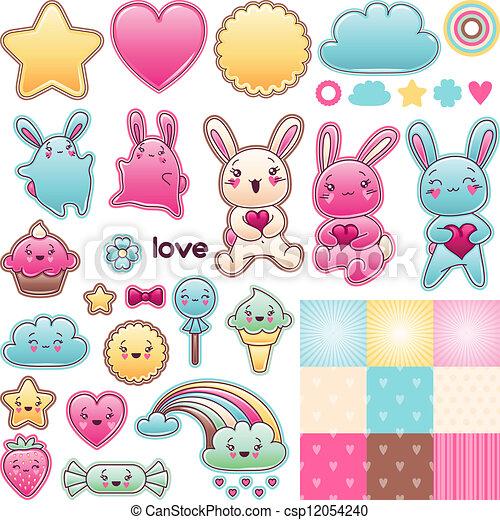 Set of decorative design elements with kawaii doodles. - csp12054240
