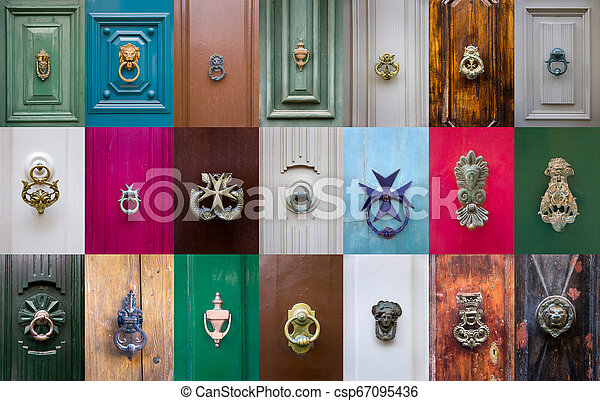 Set Of Decorative Door Knockers On A Wooden Doors From Malta Canstock