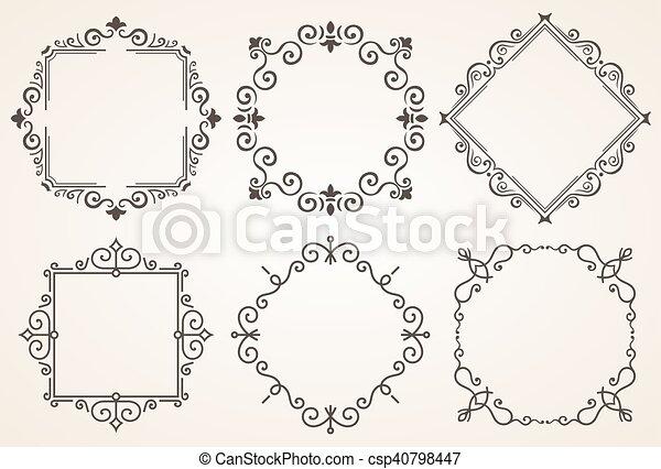 Set of decorative frames vector illustration. elegant luxury vintage ...